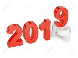 2018 2019 change concept. Represents the new year white and red symbol symbol. 3D illustration isolated on white background.