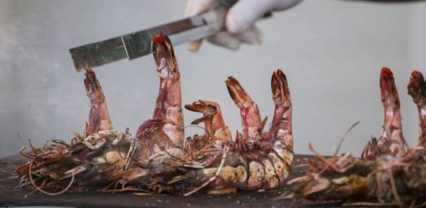 Close view of Giant Tiger Shrimps on the grill.